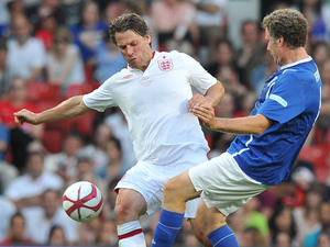 John Bishop and Will Ferrell at Old Trafford for Soccer Aid.