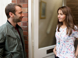 Maria is pleased when Marcus arrives at the door and invites her for a 'date' at the Bistro