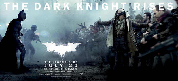 The Dark Knight Rises: Tom Hardy as Bane and Christian Bale as Batman.