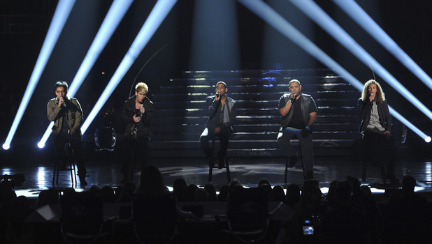 Heejun Han, Colton Dixon, Joshua Ledet, Jeremy Rosado and DeAndre Brackensick perform a Bee Gees medley in honour of the late Robin Gibb.