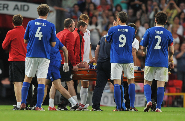 Gordon Ramsay is carried off during the match at Old Trafford for Soccer Aid.