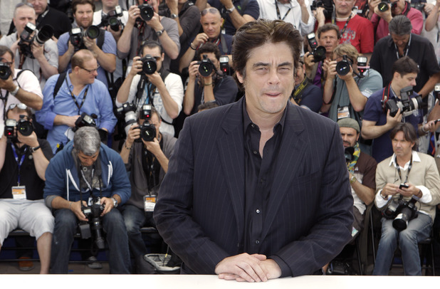 Benicio Del Toro poses during a photo call for 7 Days in Havana at the 65th international Cannes Film Festival