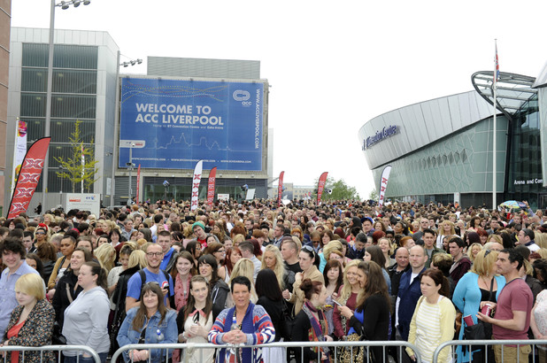 Thousands of fans queue up outside the X Factor auditions in Liverpool