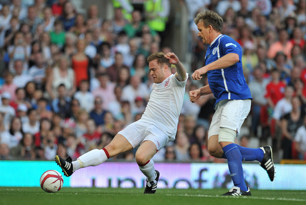 Olly Murs and Gordon Ramsay at Old Trafford for Soccer Aid.