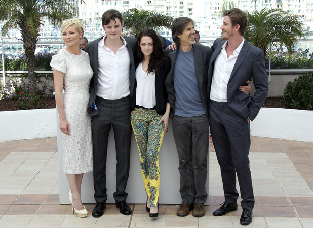 Kirsten Dunst, Sam Riley, Kristen Stewart, director Walter Salles and actor Garret Hedlund pose during a photo call for On the Road at the 65th international Cannes Film Festival