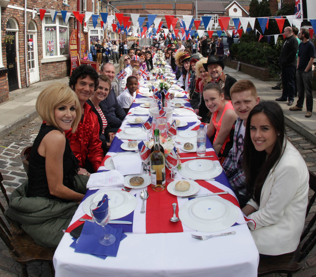 The Coronation Street residents gather round the table to celebrate the Queen's jubliee