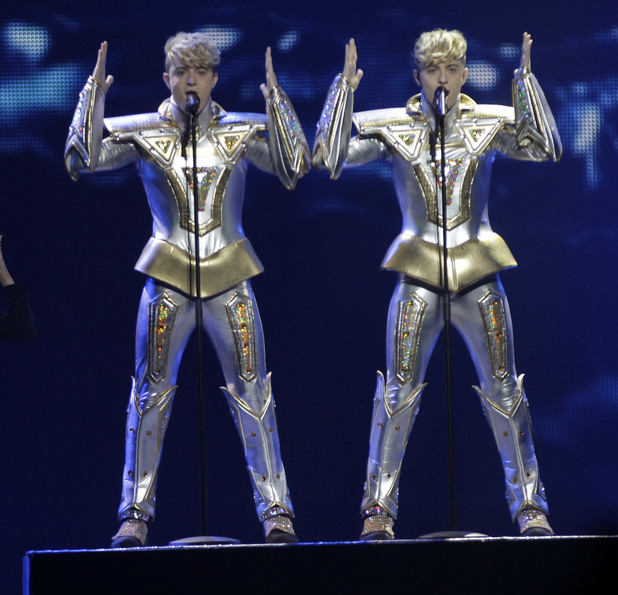 Jedward perform during the 2012 Eurovision Song Contest