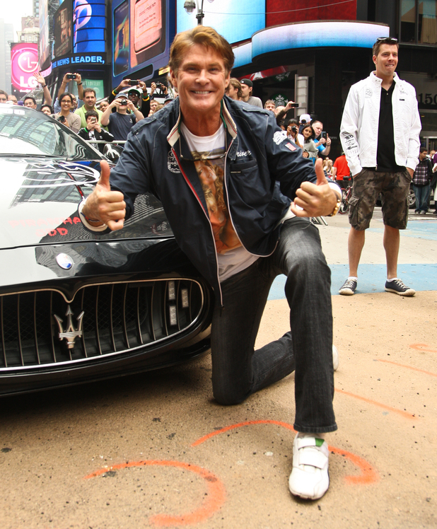 David Hasselhoff  at the Gumball 3000 International Car Rally starting point in Times Square, Manhattan.