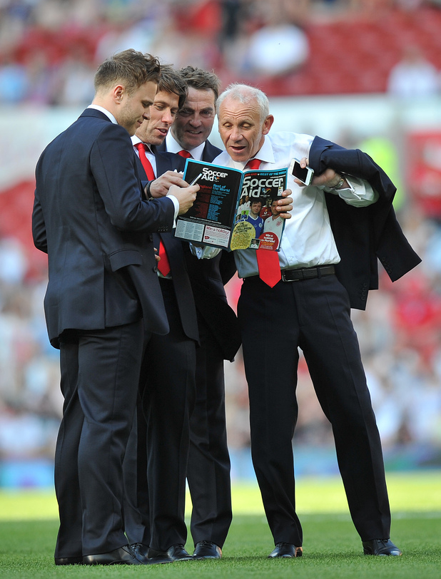 Olly Murs, John Bishop, Bradley Walsh, and Peter Reid