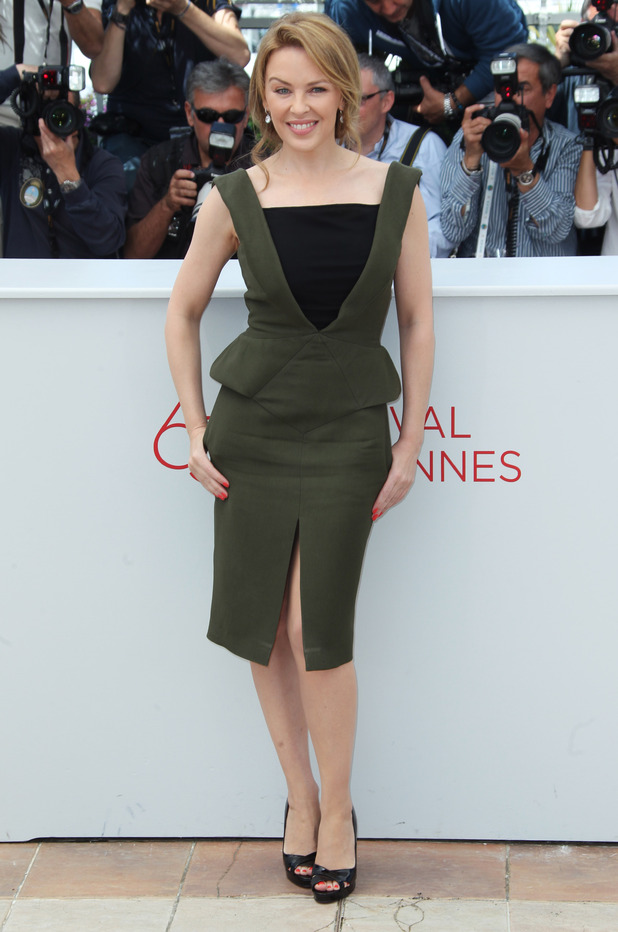 Kylie Minogue poses during a photo call for Holy Motors at the 65th international Cannes Film Festival