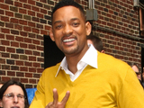 Men In Black III star Will Smith pictured outside the Ed Sullivan Theater in New York before making an appearance on The Late Show With David Letterman