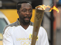 The recording artist carried the Olympic Torch into Somerset's Taunton.