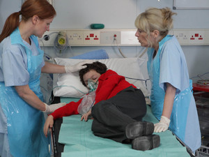 Simon Barlow in hospital