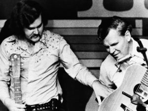 Doc Watson (R) with son Merle, pictured in May 1974