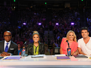 L.A. Reid, Demi Lovato, Britney Spears and Simon Cowell on the set of The X Factor USA