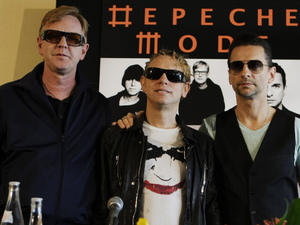 Depeche Mode members Martin Gore, Dave Gahan, and Andrew Fletcher 