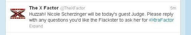 Nicole Scherzinger to guest judge on The X Factor, according to a hastily-deleted tweet.