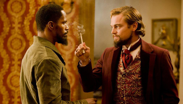 Jamie Foxx as Django and Leonardo DiCaprio as Calvin Candie in Quentin Tarantino's <em>Django Unchained</em>.