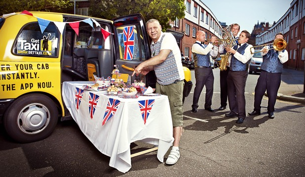 Colin 'The Cabbie' Sinclaire sets up his black cab Diamond Jubilee street party