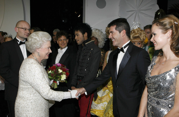 The Queen and Simon Cowell and Amanda Holden