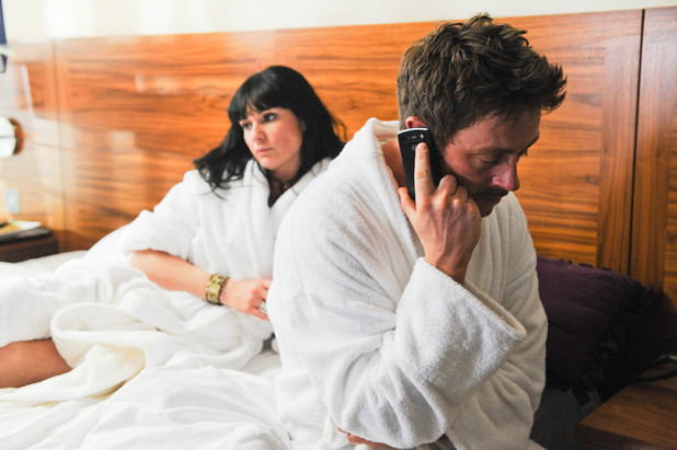Chas and Cameron go on a weekend break together, but it begins badly when Chas is jealous of Cameron while he is on the phone to Debbie