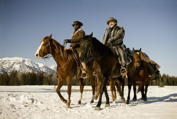 Jamie Foxx as Django and Christoph Waltz as Dr King Schultz in Quentin Tarantino's Django Unchained