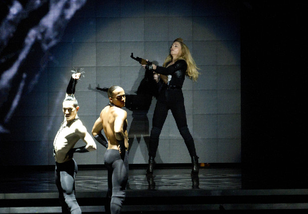 Madonna&#39;s highly-publicised &#39;gun&#39; routine during the opening night of her &#39;MDNA&#39; world tour in Tel Aviv