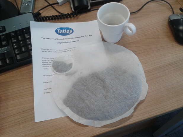 A 60-cup giant teabag from Tetley