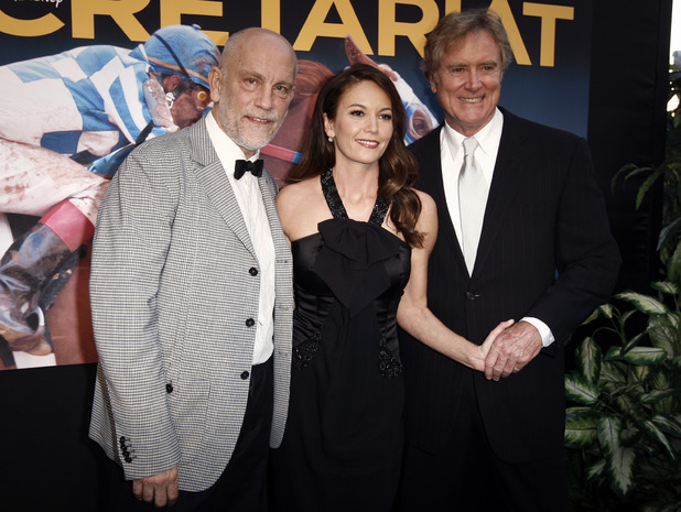 "Cast members John Malkovich, left, and Diane Lane, center, and director Randall Wallace pose together at the premiere of ""Secretariat"" in Los Angeles, Thursday, Sept. 30, 2010."