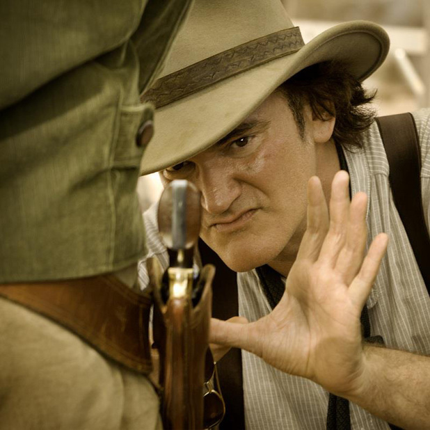 Quentin Tarantino on the set of Django Unchained