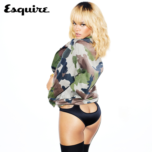 Rihanna poses in khaki for Esquire
