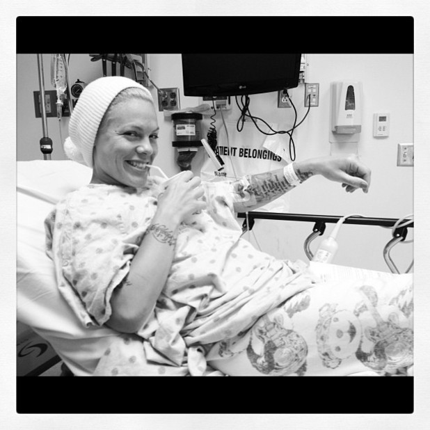 Pink posts a picture of herself in hospital on Instagram