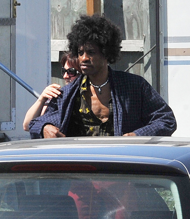 Andre Benjamin aka Andre 3000 portrays Jimi Hendrix on the first day of filming &#39;All Is by My Side&#39;