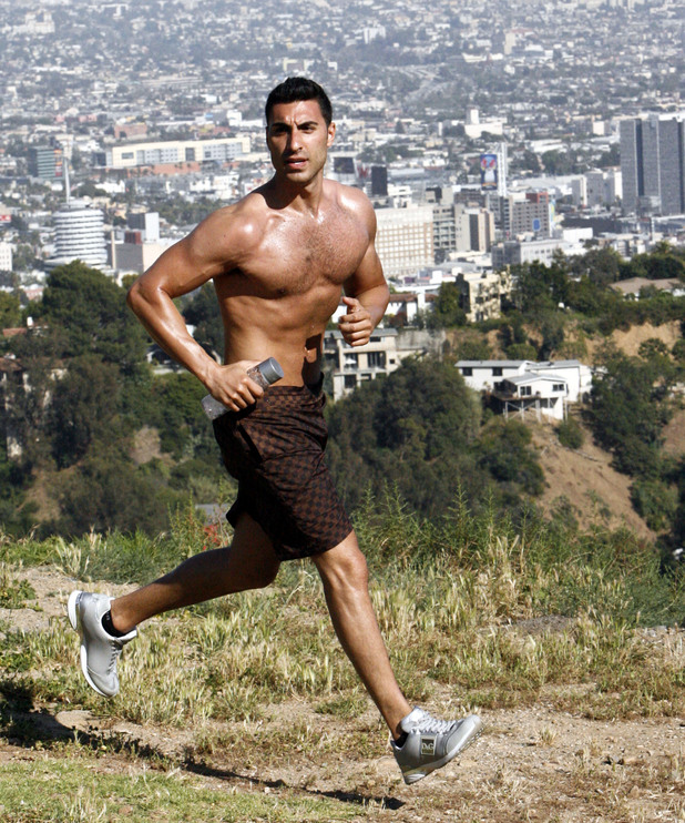 Adam Sabbagh, aka Mr. Arab, running topless in Runyon Canyon Los Angeles, California