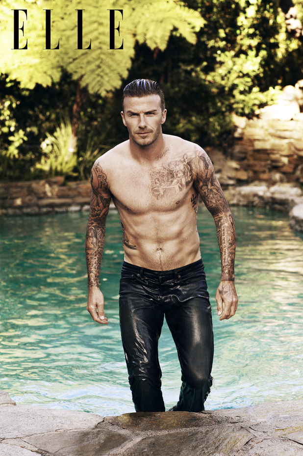 David Beckham poses for Elle magazine