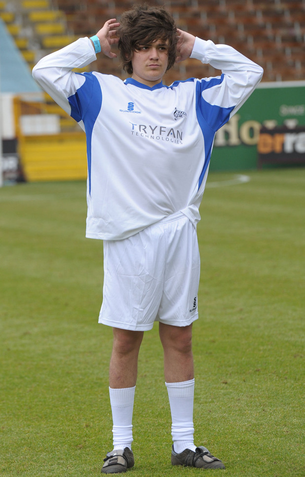 Frankie Cocozza plays in Celebrity Soccer Six at Burnley Football Club.  