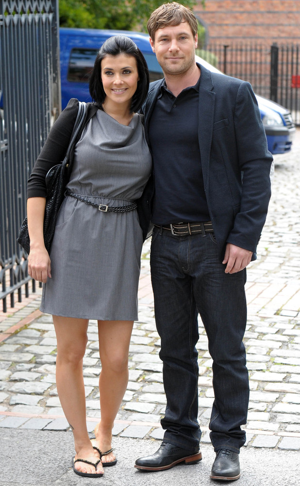 Kym Marsh and Mark Baylis leave the Granada studios after filming for 'Coronation Street'