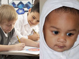 Pupils in classroom, baby