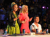 Demi Lovato, Britney Spears and Simon Cowell on the set of The X Factor USA
