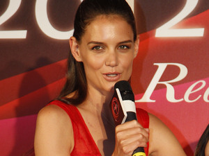 "Katie Holmes answers questions during a press conference to promote an ice skating event ""Artistry on Ice"" in Taipei, Taiwan."