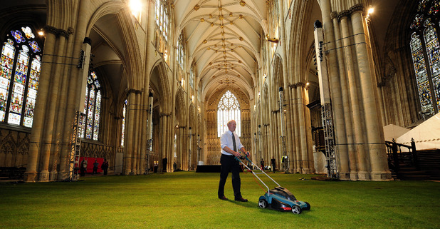 The Nave of York Minster covered in 1500 square metres of real grass