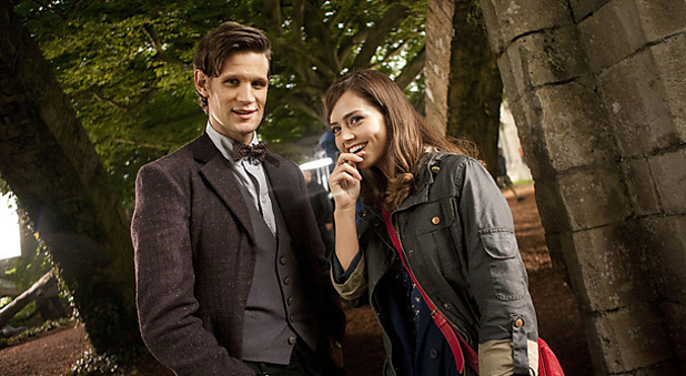 Matt Smith and Jenna-Louise Coleman on the set of &#39;Doctor Who&#39; - June 2012