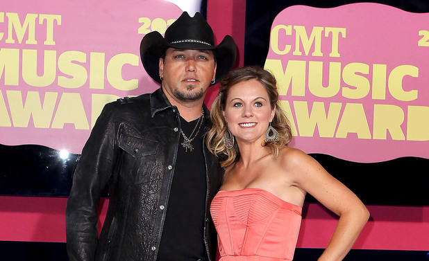 Jason Aldean and wife Jessica arriving at the 2012 CMT Music Awards in Nashville