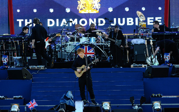 Ed Sheeran on stage outside Buckingham Palace during the Diamond Jubilee Concert.