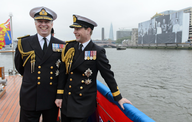 The Duke of York (left) and Earl of Wessex on the deck of the &#39;Havengore&#39; on the River Thames, London, during the Diamond Jubilee river pageant.