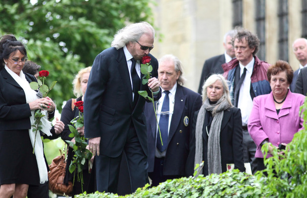 Barry Gibb at the funeral of his brother Robin Gibb