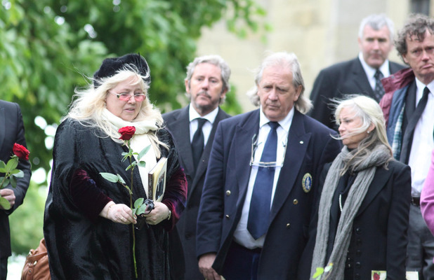 Dwina Murphy Gibb at the funeral of her husband Robin Gibb
