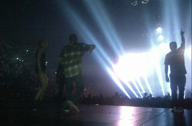 Gwyneth Paltrow on stage with Jay-Z and Kanye West in Paris