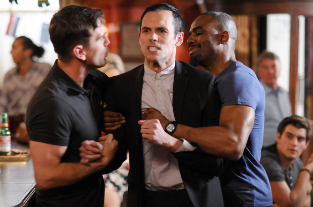 Jack Branning and Ray Dixon hold Michael Moon back in EastEnders