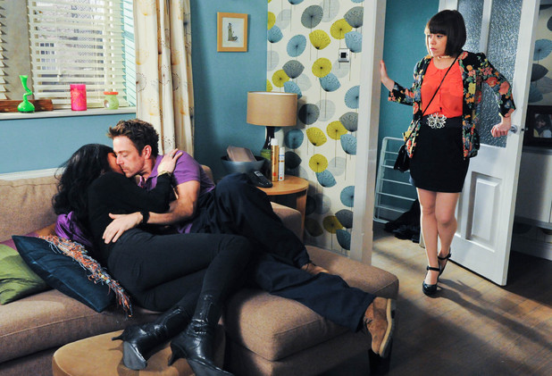 Gennie Walker catches Chas Dingle and Cameron Murray in the act
